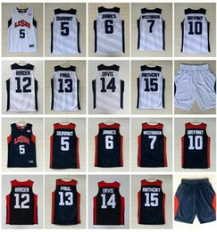 Wholesale Red Tens - 2012 USA Dream Team Ten 5 Kevin Durant 6 James 7 Westbrook 10 Bryant 12 Harden 13 Paul 15 Carmelo Anthony Basketball Jersey College Sale