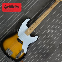 tl acero chitarra Sconti Custom factory sunburst TL jazz bass chitarra elettrica 4 corde basso elettrico con tastiera in acero negozio di strumenti musicali