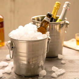 Wholesale Wholesale Bar Ice Buckets - Bardian Double Stainless steel ice bucket Bar Beer buckets Multi function spitting bucket Easy to lift KTV essential champagne keg 27qy3 Y