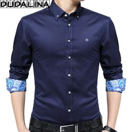 Wholesale Xs Men Satin Shirts - DUDALINA 2017 New Fashion Patchwork Shirt Men Long Sleeve Shirt Men Clothes Slim Fit Casual Social Imported China