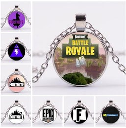 Wholesale necklaces cool - Fortnite Battle Royale Necklace Games Alloy Pendant Gift 32 Styles Cool KeyChain Key Ring Chain Kids Jewelry Pendants OOA5224