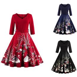 vestido de cisne vestido mulheres Desconto New Elegante Mulher Negra Roupas Com Decote Em V Cópia Floral Swan Retro Vestidos Casuais Tamanho Grande Vestido de Outono Do Vintage Vestido FS1163
