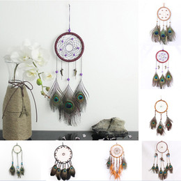Wholesale peacock wall hangings - 9Styles Peacock Feather Dreamcatcher Wind Chimes Handmade Indian Dream Catcher Car Pendant Wall Hanging Ornament Craft Wish Gift