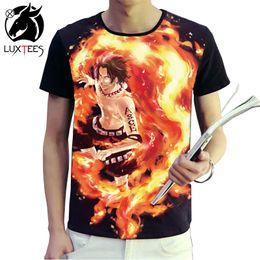 einteiliges ace Rabatt Anime One Piece t-shirt Männer Frauen 3d Druck T-shirts Luffy Ace Cosplay Kostüme Kurzarm Sommer Tees Tops Luxtees