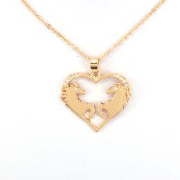 Wholesale Horn Shaped Pendants - whole salehzew heart shape two horses pendant necklace horse necklaces gift