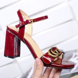 Wholesale Shoes Chunky Heels - Luxury Brand Women Leather Mid-heel Sandal Adjustable Ankle Strap 8CM High Chunky Sandal Shoes Size35-40