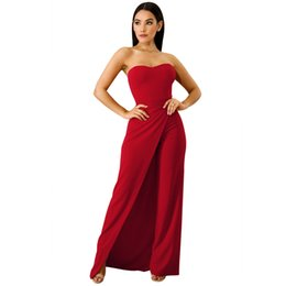 388e5aa43eef jumping suit women Promo Codes - 1950 s Vintage Jumpsuit Women Side Slits  Frock Playsuit Strapless Party