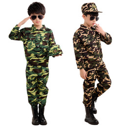 special hats Promo Codes - Special Forces Kids Clothing Army  Scouting Uniform Se Camouflage Coat+Pants+Hat Training Performance Costumes 100-180CM