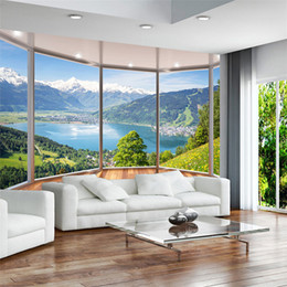 Wholesale Nature Print Paper - Custom 3D Mural Wallpaper Modern Creative Balcony French Window Nature Landscape Photo Wallpapers Living Room Bedroom Home Decor