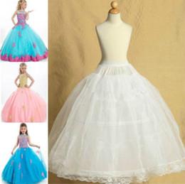 Two Hoops with Lace Edge White Adjusted Pettiskirt Wedding Flower Girl Petticoat Children Underskirt Slips Fit Kids