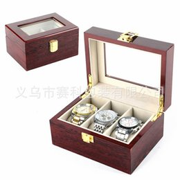 Wholesale portable high table - High quality wooden table box 3 grooved roll watch box for portable travel bag storage