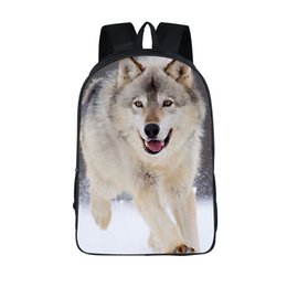 """Wholesale Wild Wolf - 16"""" Wild Wolf Teens School backpack Double Cell Shoulder Book Bags Waterproof Travel Rucksack Customized Accept"""