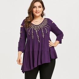 0892f492ee8a4 Plus Size Embroidery Shredding Ripped Asymmetric T-shirt Women O Neck Three  Quarter Long T Shirt Ladies Tops Big Size