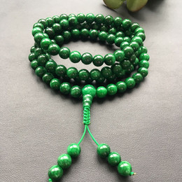 Природные ожерелье Бирма Изумруд ожерелье изумруд сухой зеленый железный дракон браслет 108 бусины Будды для мужчин и женщин от