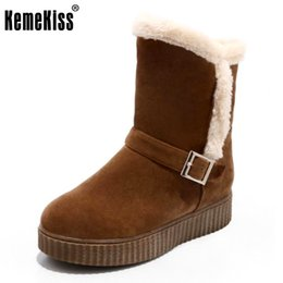 Wholesale Ivory Mid Heel Shoes - KemeKiss Size 34-43 Women Thick Platform Mid Calf Boots Women Round Toe Slip On Shoes Thick Fur Winter Warm Snow Botas