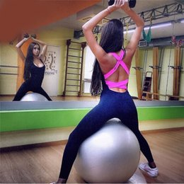 Wholesale Black Tight Jumpsuits - Wholesale-Hot sale 2016 Gym Fitness Bodysuit Women Running Tight Jumpsuits Sports Yoga Sets Women's Bandage Backless Cross Back