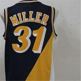 Wholesale 31 shirt - Men's Reggie Miller Baasketball Jersey 31 Baasketball Miller Jerseys Black Yellow Retro Mens Shirt