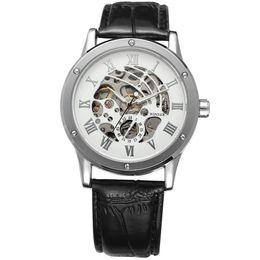winner mens skeleton mechanical watch UK - Luxury Winner Watch Fashion Casual Retro Vintage Leather Strap Mens Mechanical Watches Men Roman Skeleton Wristwatch
