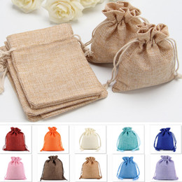 Wholesale wrapping for candy - Burlap Jute Gifts Bags For Christmas Plain Vintage Wedding Xmas Party Favor Candy Gift Package Wrap Bags 9 Designs HH7-1286
