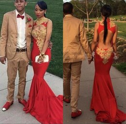 Wholesale couples wear - Red African Mermaid Prom Dresses 2018 Lace Applique Couple Fashion Sexy High Neck Hollow Back Formal Dresses Evening Wear