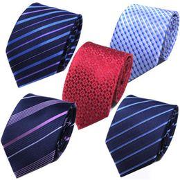 Wholesale Mens Silk Cravats - 1pcs 8cm Fashion Polyester Silk Necktie Mens Popular Dress Twill Design Tie Wedding Business Solid Cravat Color Mix 5 5py Z