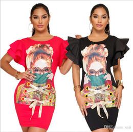 vestidos vermelho carmesim Desconto Casual Tamanho Grande Mulheres Impressão 3D T Shirt Vestido Hip Vestido Cuff Straps Flounces Pétala Manga K9132 Cor Tamanho Preto S-XXL