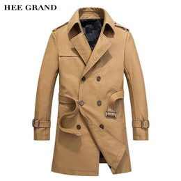 Wholesale grand double - Wholesale- HEE GRAND Men Fashion Pu Coat Long Stretch Design 2017 New Arrival Autumn Warm Padded Leather Coat With Belt Size M-3XL MWP438