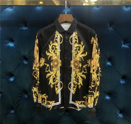 Wholesale cool color paintings - Men Shirt 2018 Male Geometry printing Fashion Shirt Cool personality Paint Leisure 8 Color Long Sleeve Shirts