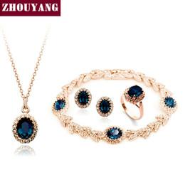 2019 jade rose ringe Ganzer VerkaufTop Qualität ZYS111 Rose Gold Farbe Blau Österreichischen Kristallschmuck Set mit 4 Stück 1 Nickel + 1 Ring + Ohrring + 1 Armband günstig jade rose ringe