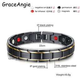 Wholesale Infrared Bracelet - whole saleGraceAngie Men's Black Gold Color Healing Energy Infrared Negative Ion Germanium Stainless Steel Magnetic Bracelet Bangle Gifts