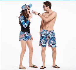 Wholesale Fitness Swim Suits - couples board shorts surfing swimwears lovers beach short swimming trunks bathing suit running joggers praia fitness gym