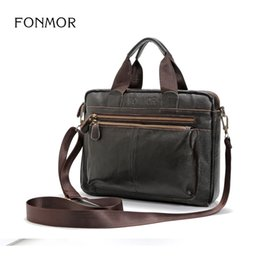 Wholesale high quality leather notebooks - FONMOR Multifunctional Fashion Casual Shoulder Bags Genuine Leather Men Handbag High Quality Cowhide Zipper Notebook Briefcase