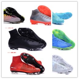 Wholesale Cheap Winter Ankle Boots - 2018 Mens Low Ankle Football Boots CR7 Mercurial Vapor XI FG Soccer Shoes Superfly V Neymar Soccer Cleats cheap blue