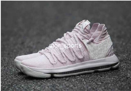 Wholesale Kd Shoes High Cut - 2018 New KD 10 Aunt Pearl Mens Basketball Shoes Sneakers High Quality Pearl Pink White-Sail Athletic Sport Sneakers AQ4110-600 Eur 40-46