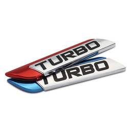 Placa turbo online-3D Metal TURBO etiqueta engomada del coche turbo Logo emblema calcomanías calcomanías Car Styling DIY accesorios de decoración para Frod Bmw Ford
