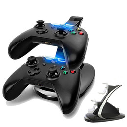 Wholesale Xbox Stands - Wholesale-LED Dual Charger Dock Mount USB Charging Stand For PlayStation 4 PS4 Xbox One Gaming Wireless Controller With Retail Box OTH775
