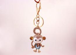 colgantes de diamantes chinos Rebajas Encantador cola larga mono llavero chino zodíaco mono diamante incrustado llavero creativo auto bolsa colgante