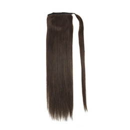 "Wholesale 27 Pieces Human Hair - 16"" 18"" 20"" 22"" Clip In Ponytail Human Hair Extensions Wrap Around Ponytail Hair Pieces Color #2 #613 #27 613"