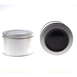 Wholesale wholesale watches tins - YCYS-A pair of silver round with sponge window tin box watch box