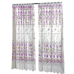 Тканевые панели онлайн-Занавес окна Пион Sheer занавес тюль окна лечение вуаль драпировка подзорная 1 панель ткань дропшиппинг 18may17