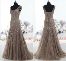 Wholesale light blue sheer corset - 2018 Brown Tulle Vintage Mother of the Bride Dresses Mermaid V Neck Applique Beads Tulle Corset Custom Made Mother Formal Evening Gowns