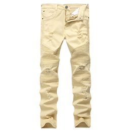 Wholesale full height - Men street locomotive Khaki Mens pants stretch jeans repair height