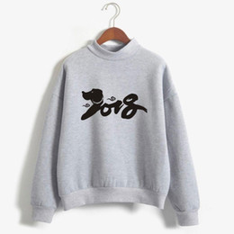Wholesale Sweatshirt Chinese - BTS 2018 New Year Of The Dog Sweatshirt Women Hip Hop Chinese New Year Men Hoodie Sweatshirt Fashion Casual Clothes