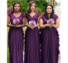 Wholesale Unique Country - Purple V neck Bridesmaid Dress Chiffon Short Sleeves 2018 Unique Bodice Ruffles Design Empire Country Plus size Cheap Prom Evening Gowns