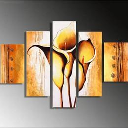 2019 grande pittura moderna astratta di fiore Grande dipinto a mano astratto oro fiore dipinto ad olio a mano 5 pezzi quadri su tela dipinti floreali Modern Home Arts sconti grande pittura moderna astratta di fiore