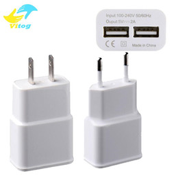 Wholesale Tablet Eu - 2018 Universal 5V 2A Dual USB Port Wall Adapter Charger Charging US EU Plug For Phone Tablet with Package