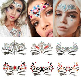 Wholesale christmas tattoos - Handpicked Bohemia Tribal Style 3D Crystal Sticker Face And Eye Jewels Forehead Stage Decor Temporary Tattoo Sticker