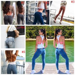 Wholesale dark wash jeans - Casual Push Up Women Leggings Low Waist Washed Jeans Skinny Workout Jeggings Pencil Pants Denim Legging 5 Styles OOA4566