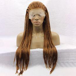 Yaopoly Örgü Peruk Uzun Afrika Amerikan Örgülü Peruk Siyah Kadınlar için Kahverengi Sentetik Dantel Ön Peruk cheap american wigs nereden amerikan perukları tedarikçiler