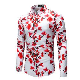 1163daed Chinese Style Floral Print Men Shirt Long Sleeve Elegant Plum Blossom  Pattern Mens Clothing Fashion Dress Shirt Men M-4XL 2018